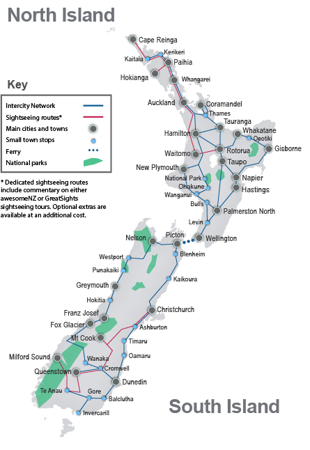 New Zealand national scenic bus and coach travel routes and destinations